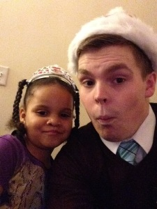 sean santa hat with cute girl 2014